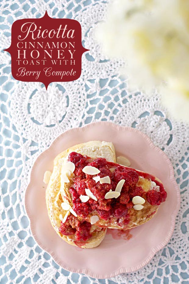 Ricotta Cinnamon Honey Toast with Berry Compote | She Sows Seeds