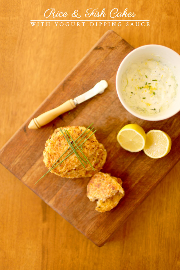 Rice & Fish Cakes with Yogurt Dipping Sauce | She Sows Seeds