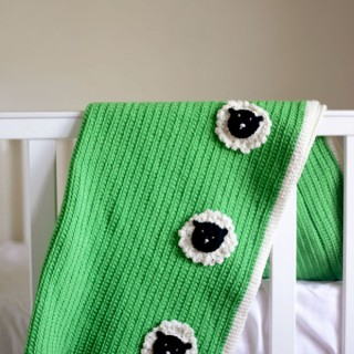 Green Paddock Baby Blanket with Sheepy Friends