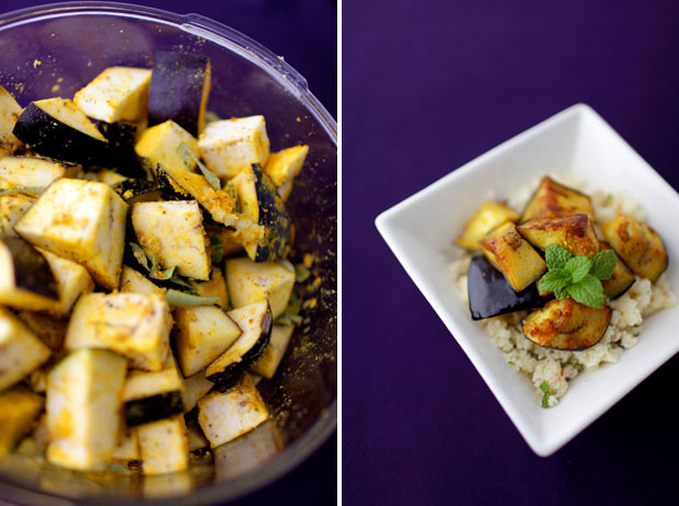 Curried Fried Eggplant with Apricot Couscous | She Sows Seeds