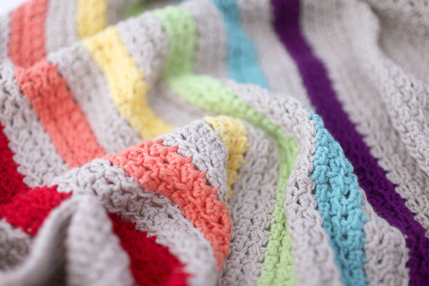 Rainbow Stripe Cotton Crochet Baby Blanket | She Sows Seeds 4