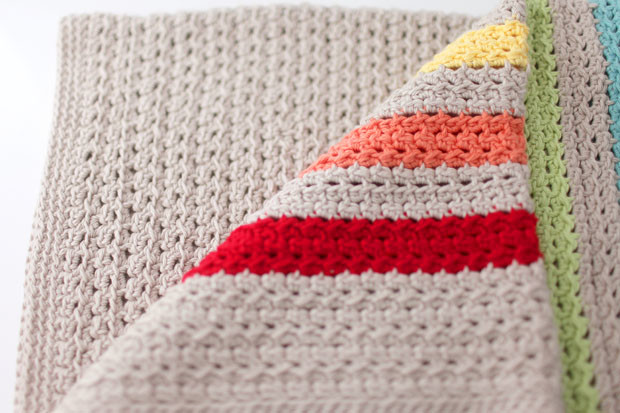 Rainbow Stripe Cotton Crochet Baby Blanket | She Sows Seeds 6