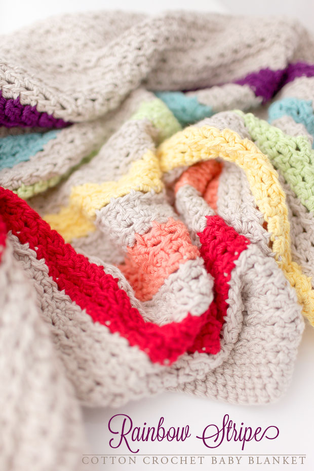 Rainbow Stripe Cotton Crochet Baby Blanket