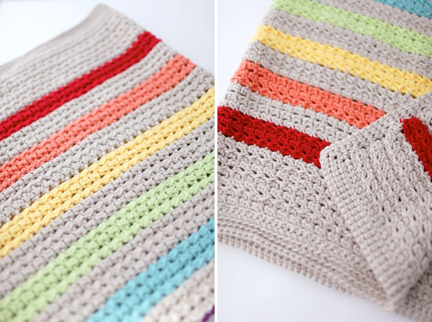 Rainbow Stripe Cotton Crochet Baby Blanket | She Sows Seeds 8