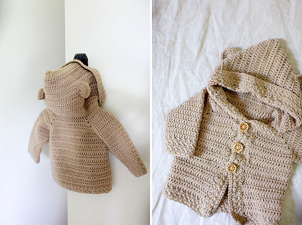 Hooded Bear Corcheted Cardigan | She Sows Seeds 10