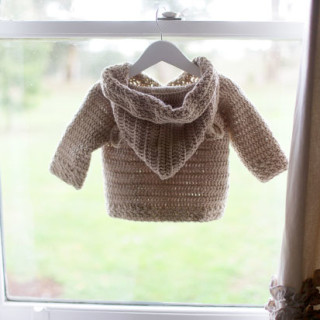 Hooded Bear Crochet Cardigan