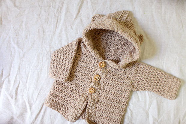 Hooded Bear Corcheted Cardigan | She Sows Seeds 8