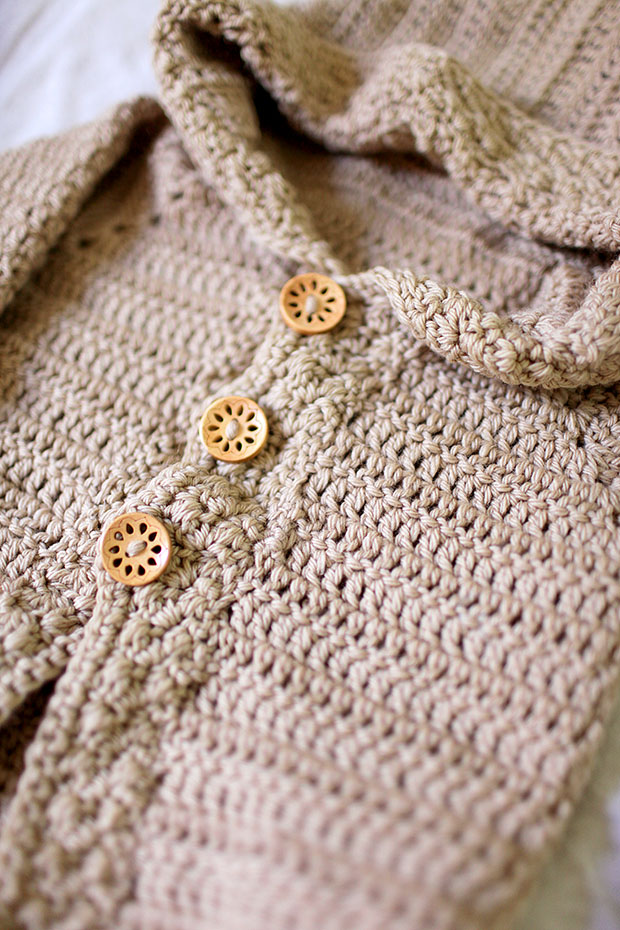 Hooded Bear Corcheted Cardigan | She Sows Seeds 9